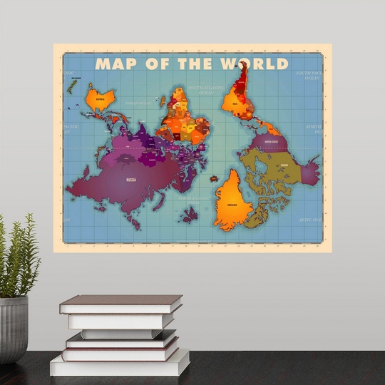 Poster print wall art entitled upside down map of the world ebay poster print wall art entitled upside down map gumiabroncs Images