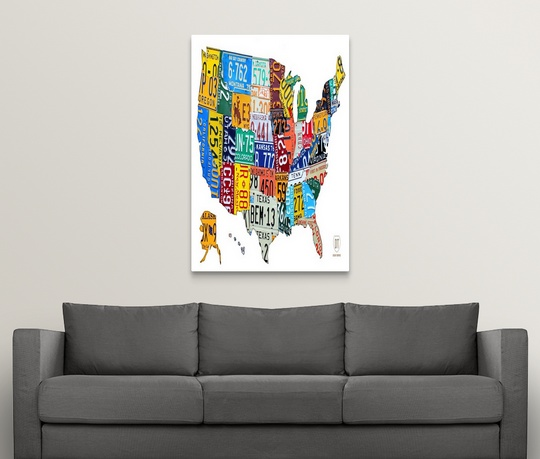 Premium Thick-Wrap Canvas Wall Art entitled License Plate Map USA | eBay