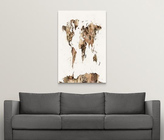 Premium thick wrap canvas wall art entitled map of the world map sepia premium thick wrap canvas wall art entitled map publicscrutiny Gallery
