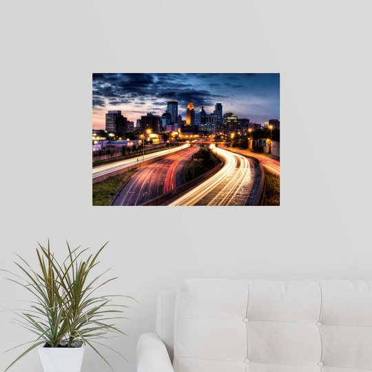 Poster Print Wall Art entitled Downtown Minneapolis skyline and ...