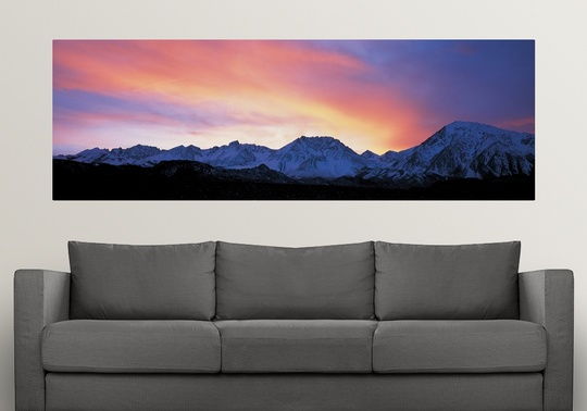 Poster Print Wall Art entitled Sunset over Sierra Mountains CA