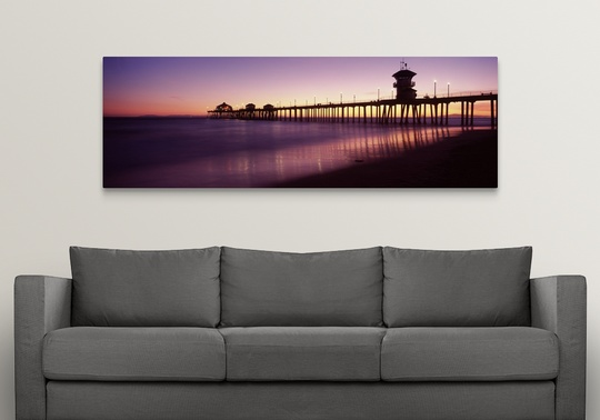 Huntington Beach Wall Decor : Premium thick wrap canvas wall art entitled pier in the