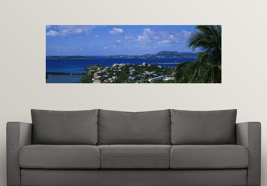 Poster Print Wall Art entitled High angle view of buildings on an island, St.