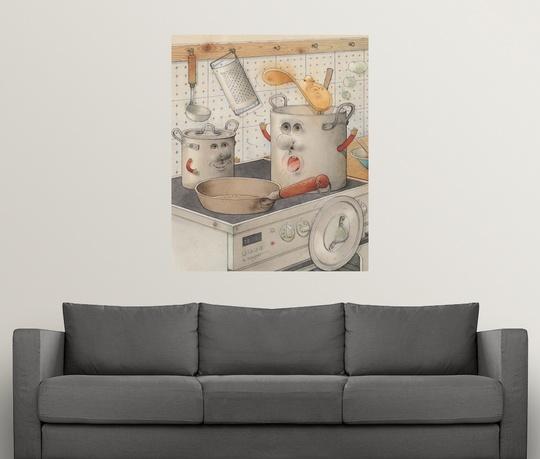 Kitchen Art The Range: Poster Print Wall Art Entitled On The Kitchen Range, 2003