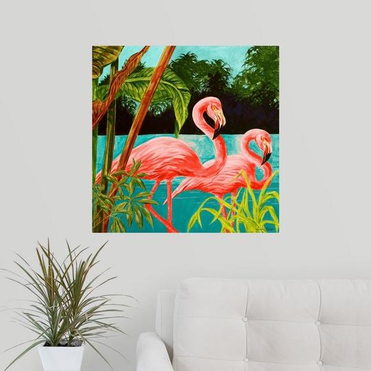 Poster Print Wall Art entitled Hot Tropical Flamingo II