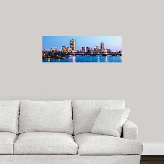 Poster Print Wall Art entitled Boston City Skyline at Night