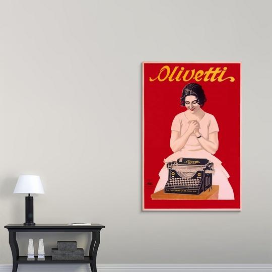 Premium-Thick-Wrap-Canvas-Wall-Art-entitled-Olivetti-Typewriter-Vintage