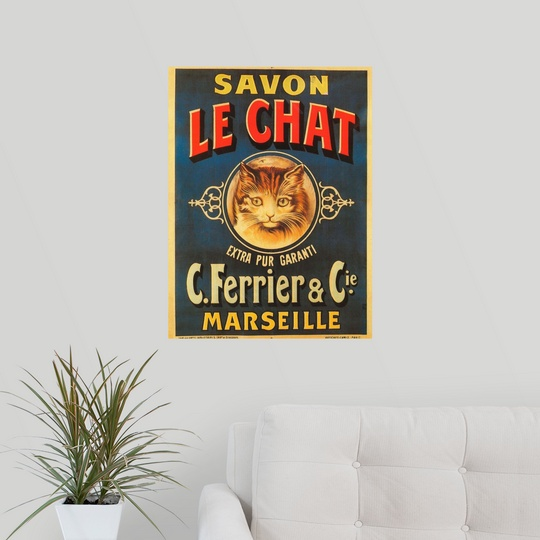 Poster print wall art entitled savon le chat vintage for Abstract salon tucson