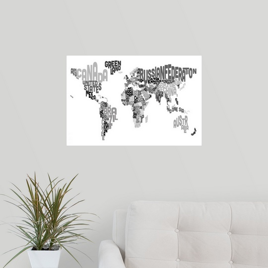 poster print wall art entitled country names world map black and white ebay. Black Bedroom Furniture Sets. Home Design Ideas