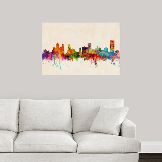 Poster Print Wall Art Entitled Buffalo New York Skyline Ebay