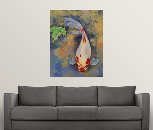 Koi Wall Décor In Gold Leaf : Poster print wall art entitled koi with japanese maple