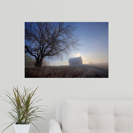 Poster-Print-Wall-Art-entitled-Autumn-Sunrise-Over-Barn-On-A-Farm-Alberta