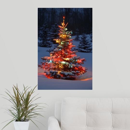 Jd Christmas Tree: Poster Print Wall Art Entitled Christmas Tree With Lights