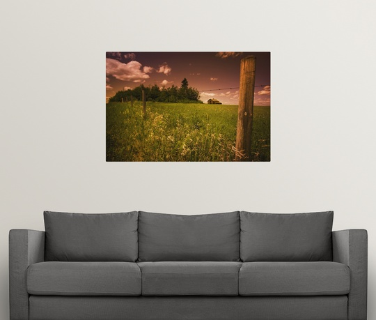 Poster-Print-Wall-Art-entitled-Alberta-Canada-An-Old-Barn-And-Fence