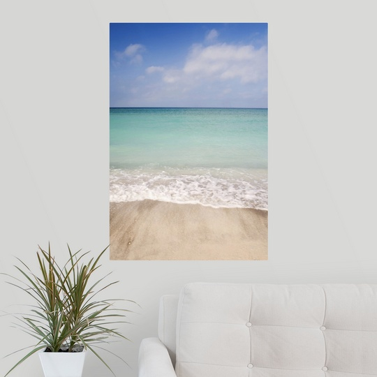 poster print wall art entitled beach scene with blue sky turquoise water and ebay. Black Bedroom Furniture Sets. Home Design Ideas