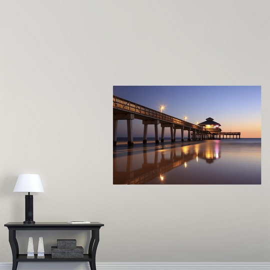 Poster Print Wall Art Entitled Sunset At Fishing Pier Fort Myers Beach Florida Ebay