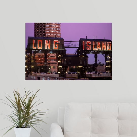 poster print wall art entitled long island atop former ferry terminal ebay. Black Bedroom Furniture Sets. Home Design Ideas