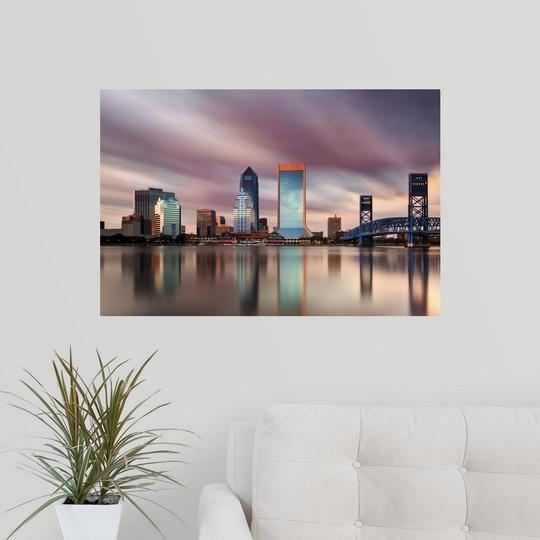 Poster Print Wall Art Entitled Jacksonville Skyline Long