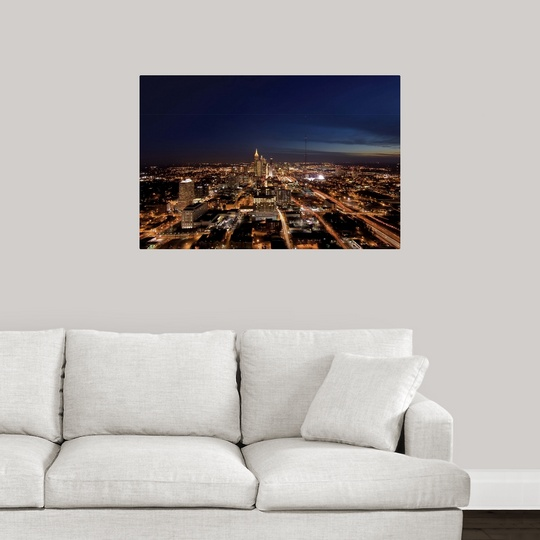 poster print wall art entitled atlanta georgia skyline ebay. Black Bedroom Furniture Sets. Home Design Ideas