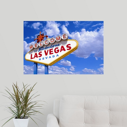 poster print wall art entitled welcome to las vegas sign ebay. Black Bedroom Furniture Sets. Home Design Ideas