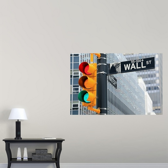 Wall Hanging Traffic Light : Poster Print Wall Art entitled Traffic light and Wall Street sign, New York eBay