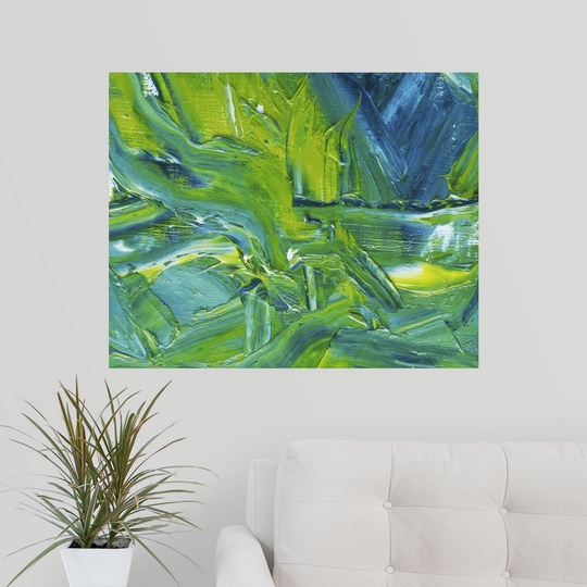 poster print wall art entitled oil painting in green blue. Black Bedroom Furniture Sets. Home Design Ideas