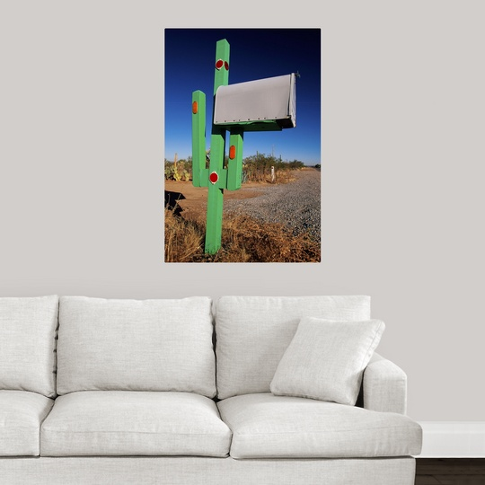 Wall Decor Mailbox : Poster print wall art entitled cactus mailbox