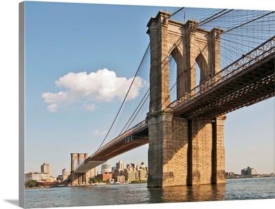 Brooklyn Bridge seen from Manhattan waterfront, New York