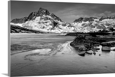 Mt. Ritter and Banner Peak over Thousand Island Lake. Sierra Nevada Mountains.