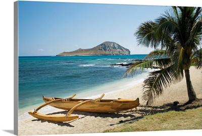 Hawaii, Oahu, East Shore Rabbit Island And Koa Canoe