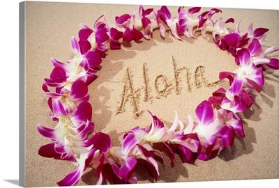 Hawaii, Purple Orchid Lei On Beach, Aloha Written In Sand