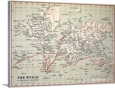 Map Darwin's Beagle Voyage South America