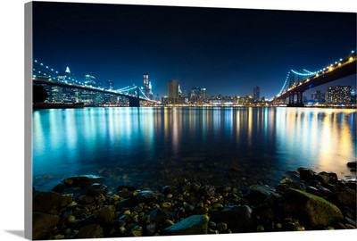 Brooklyn and Manhattan Bridges at Night, NYC