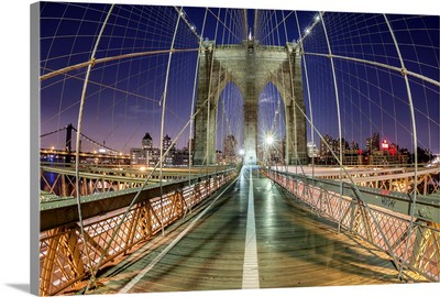 Dusk on the Brooklyn Bridge, New York