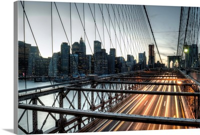 Sunset Manhattan Over Brooklyn Bridge