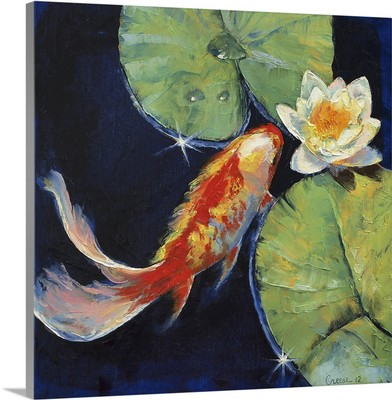 Koi and White Water Lily