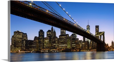 Manhattan and Brooklyn Bridge at dusk, New York City
