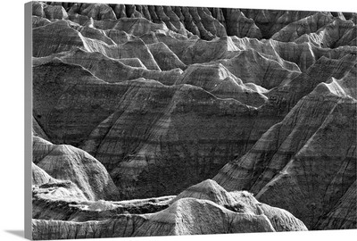 Black and white image of the Badlands National Park, South Dakota