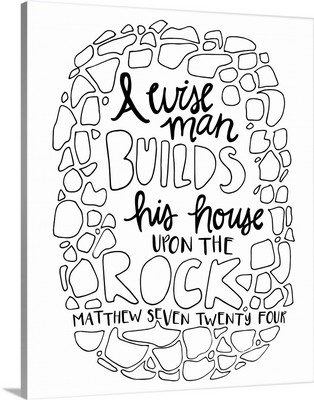 A Wise Man Build His House Upon The Rock Handlettered Coloring