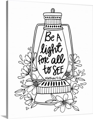 Be A Light For All To See Handlettered Coloring