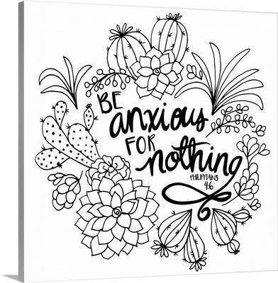 Be Anxious For Nothing Handlettered Coloring