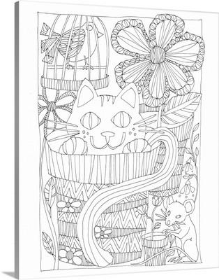 Cat In Flowerpot Coloring