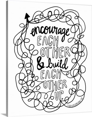 Encourage Each Other Handlettered Coloring