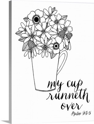My Cup Runneth Over Handlettered Coloring