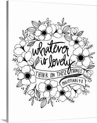 Whatever Is Lovely Handlettered Coloring