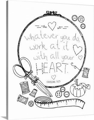 Whatever You Do Handlettered Coloring