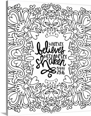 Whoever Believes Need Never Be Shaken Handlettered Coloring