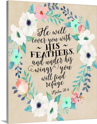Psalm 91:4 Wreath Teal And Pink W- Beige Background