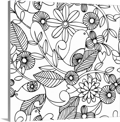 Birds and Flowers - Black and White