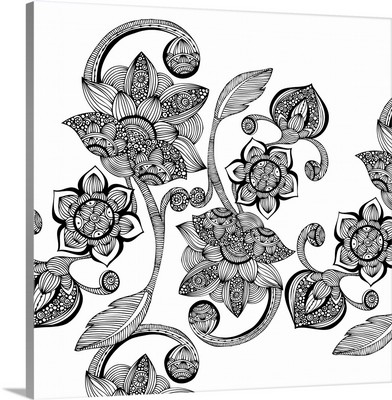 Boho Flowers - Black and White